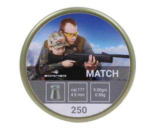 Пули Borner Match 4,5 мм, 0,58 грамм, 250 штук