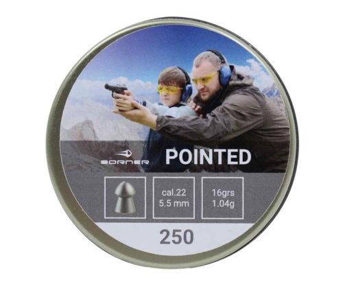 Пули Borner Pointed 5,5 мм, 1,04 грамм, 250 штук